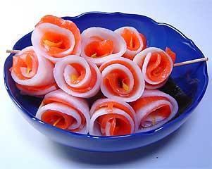 千枚漬けとスモークサーモンのお花